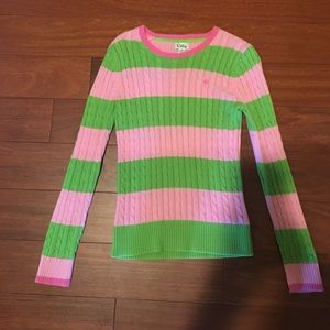 Lilly Pulitzer Green & Pink Cable Knit Sweater