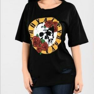 Tops - Ripped/Distressed Skull Rose Tee