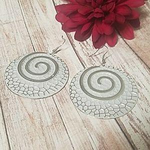 Jesi's Fashionz  Jewelry - Whitewashed Silver Textured BOHO Swirl Earrings