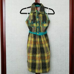 Angel's Tribe Dresses - NWT Yellow and teal plaid collared halter sundress