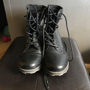 Rock and Candy Shoes - Black Combat Boots