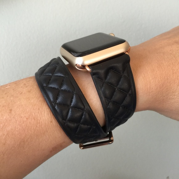 1aab76a41 Other | Rose Gold Black Double Tour Apple Watch Band | Poshmark