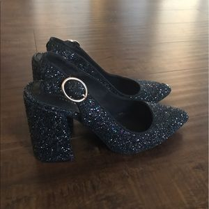 Shellys London Glitter Slingback Heels