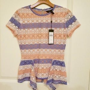 BCBG striped peplum zip top NWT