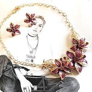 Jewelry - New Flower Statement Necklace w Earrings Set 🌺