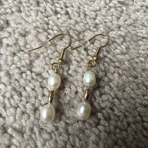 Jewelry - WHITE AND GOLD EARRINGS