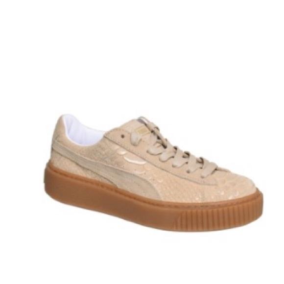 0fe01f432790 Puma Basket Platform Exotic Skin Womens Sneaker.