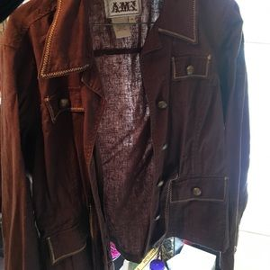 Ami Jackets & Blazers - Brown linen and cotton jacket