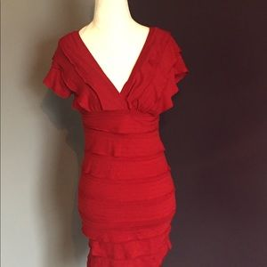 {Max Studio} bodycon dress w/ruffled layers