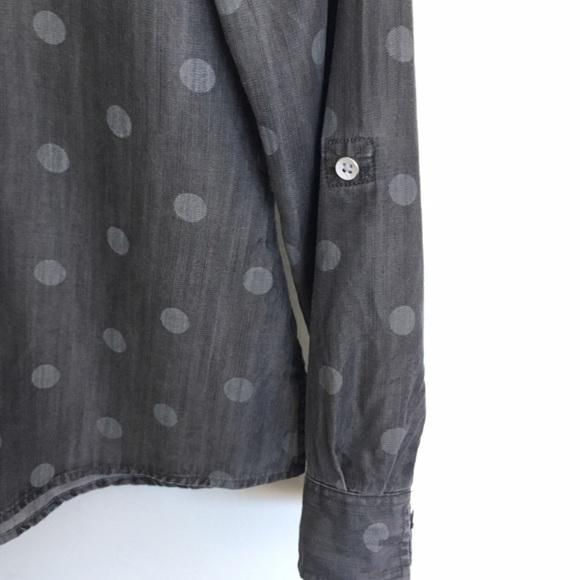 Foxcroft Tops - Nordstrom Foxcroft Polka Dot Gray Button Down