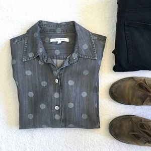 Nordstrom Foxcroft Polka Dot Gray Button Down