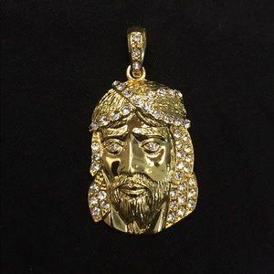 Other - Gold Jesus Piece Pendant with CZ Diamonds
