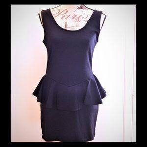 Cotton On Dresses & Skirts - Chic Bod-Con Black Peplum Scoop Neck Dress Sz S