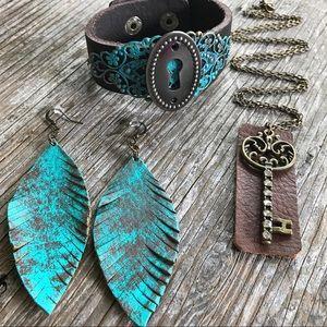 Abbie's Anchor Jewelry - Handmade leather jewelry set•gypsy/boho statement