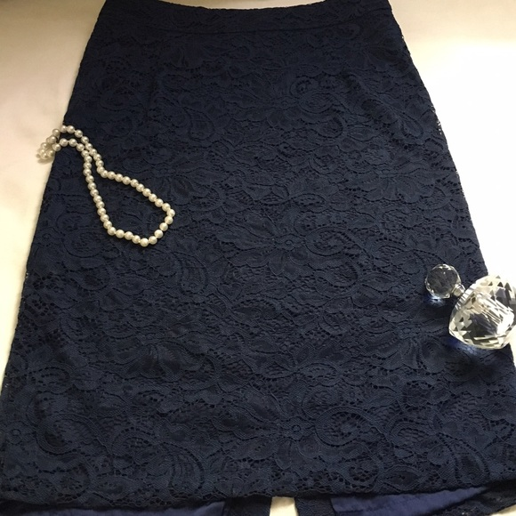 piperlime navy blue lace pencil skirt size xs piperlime