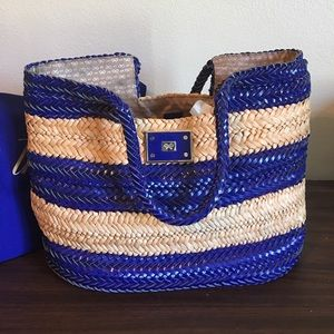 Anya Hindmarch Handbags - Anya Hindmarck Royal Leather & Natural Straw