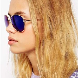 Royal Blue mirrored aviator sunnies