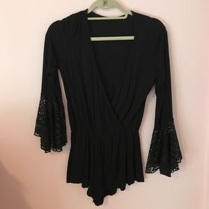 Wishlist Pants - Short jersey black romper with long bell sleeves!