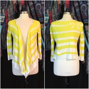 Anthropologie Sweaters - Anthropologie Moth Yellow Striped Bow Cardigan