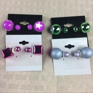 Jewelry - New 4 Pairs of Double Stud Earrings
