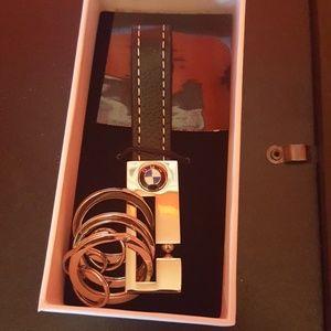 BMW Leather 3 Ring Key Fob