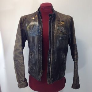 Unknown Jackets & Blazers - OOAK VINTAGE Motorcycle Jacket wHarley Pins Sz8