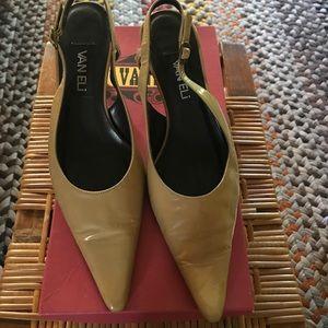 Vaneli Shoes - Vaneli Taupe Patent Slingback Pump