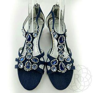 Adrienne Vittadini  Shoes - Adrienne Vittadini Jeweled Blue Denim Sandals