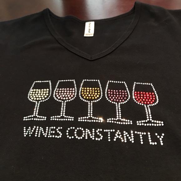 Wines Constantly rhinestone v neck t-shirt!