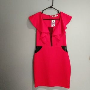 Mystic Dresses & Skirts - NWT Red Scuba Dress with ruffle and mesh