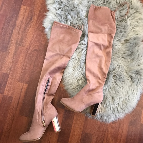 f00ad28b1 Catherine Malandrino Shoes - Catherine Malandrino rose gold over the knee  boots