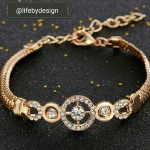 Life by Design  Jewelry - Gold Filled Chain & Crystal Charm Braclet