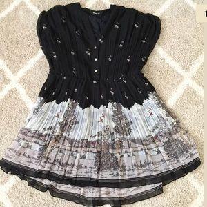 Oasis Dresses & Skirts - {Oasis} Black Accordion Scenic Dress