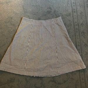 LOFT Blue White Striped Skater Flared Skirt