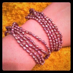 Jewelry - Multi-strand mauve fresh water pearl bracelet set