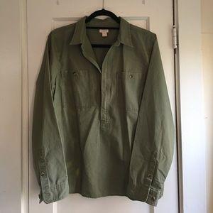 *NWOT* J.Crew Half Zip Pullover - Olive Green