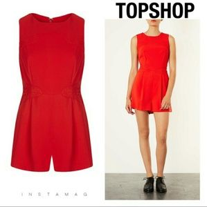 Topshop Other - Topshop red lace panel playsuit