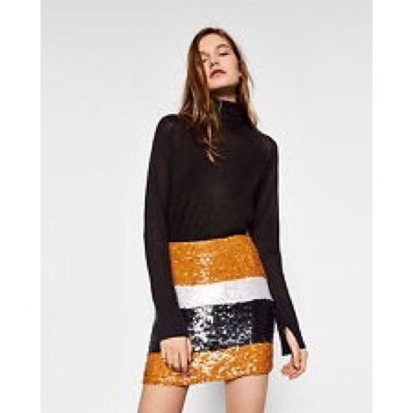 5273f42d3af NWT Sequin Color-Block Zara Skirt