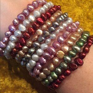 Jewelry - Set of ten stretch freshwater pearl bracelets