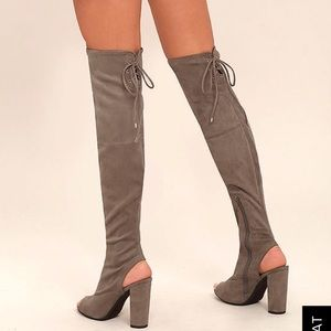 Delicious Shoes - Long Faux Suede Peep Toe/Heel Knee High Boots