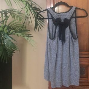 Kimchi Blue Tops - UO Gray & Black Swing Top with Lace Trim & Bow