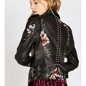 Urban Outfritters floral embroidered moto jacket