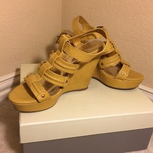 Shoes - Cut out strappy mustard yellow wedge