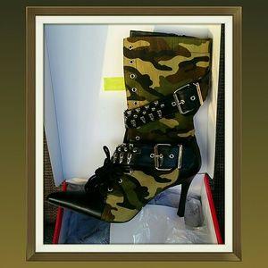 Funtasma Shoes - NEW IN BOX!!!  Fabulous Camo Militia Heeled Boots