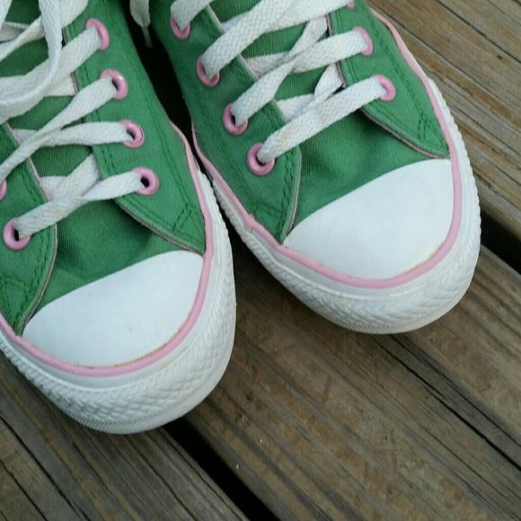 converse converse all pink green hi top tennis