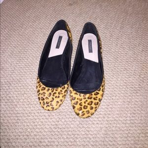 Calf hair cheetah print flats with gold heel