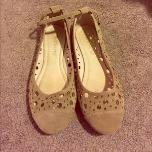 Restricted Women's Perforated Taupe Flats, 8.5
