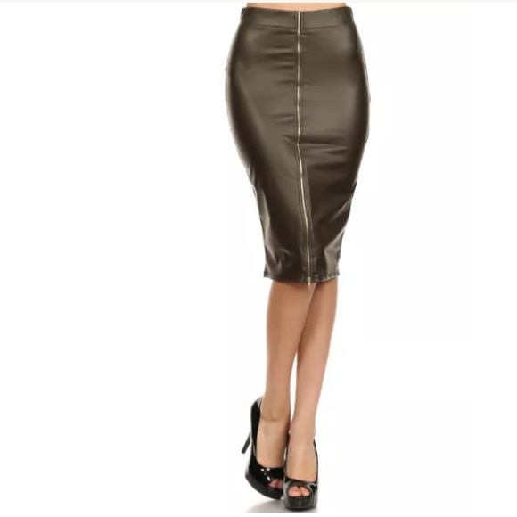 49 dresses skirts olive faux leather zipper high