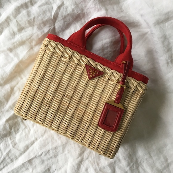 be46e6ed889a Prada Wicker and Canvas Tote. M 59190092713fdedb34025217