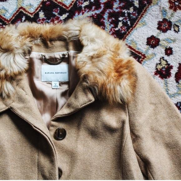 NEW | Banana Republic Long Wool Coat *Fur Collar